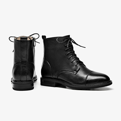 2019 new retro Martin boots female autumn and winter leather wild short boots with low-heeled boots