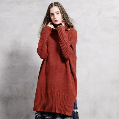 Winter new retro turtleneck sweater long loose loose bottoming sweater