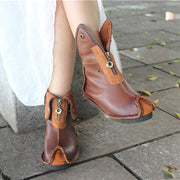 Retro Style Zipper Leasther Patchwork Round Toe Rivets Ankle Boots