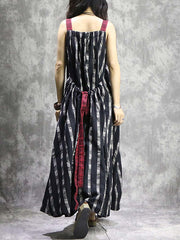 Plus Size Spaghetti Backless Plaid Pocket Big Hem Maxi Dresses