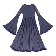 Spring new round neck big horn cuffs retro embroidered dress
