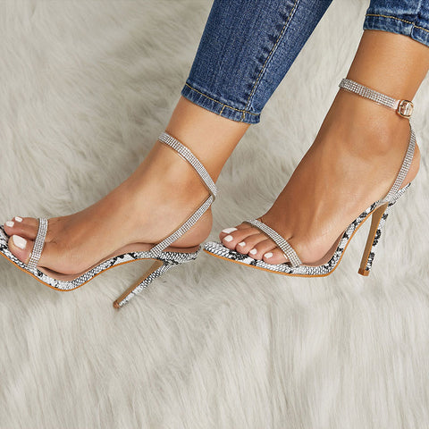 Snakeskin Rhinestones Cross Belt Stiletto Heel Open Toe Sandals