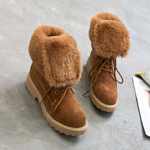 2019 winter thick hair Martin boots female leather snow boots warm long velvet middle boots with two wearing boots