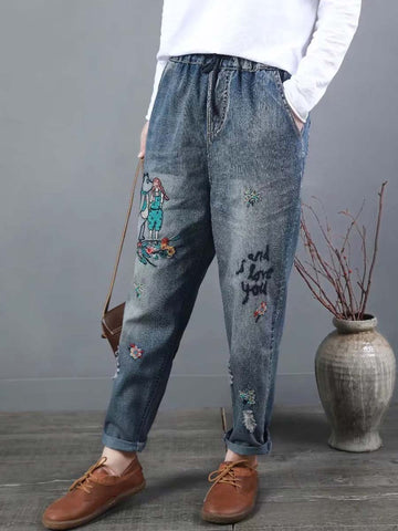 Worn Characters Embroidery Pocket Patchwork Lace-Up Pencil Jeans