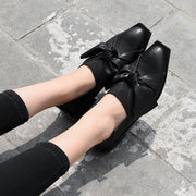 Fashion Solid Color Bowknot Square Toe Low Heel Slip-On Loafers