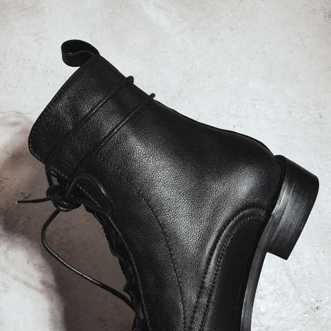 2019 autumn and winter new leather low thick heel plus velvet Martin boots
