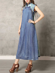 Vintage Color Block Asymmetric Stand Collar Sleeveless Denim Dresses
