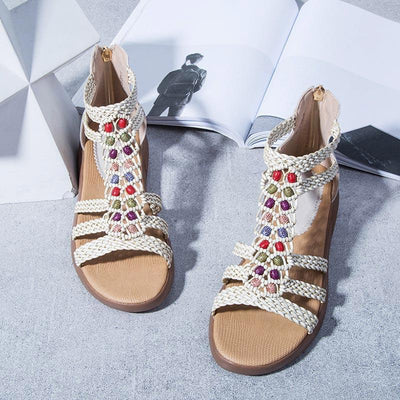 Rome Style Bead Knitted Hollow wedge Sandals