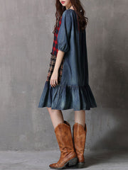 Casual Plaid Patchwork Ruffle Half Sleeve Round Neck Loose Denim Dresses
