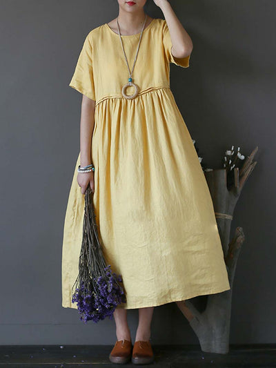 Vintage Round Neck Solid Color Short Sleeve Pleated Linen & Cotton Dresses