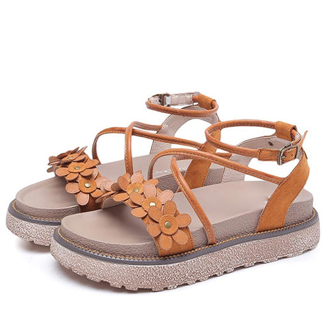 Mori Girl Flower Cross Ankle Strap Suede Platform Open Toe Hollow Sandals