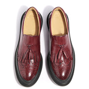 British Solid Color Tassel Embroidery Round Toe Leather Loafers