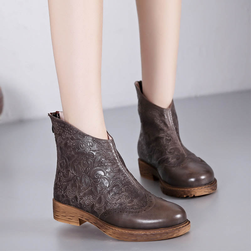 Casual washed cowhide embossed women's platform boots