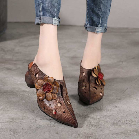 Vintage ethnic style literary high heels shoes