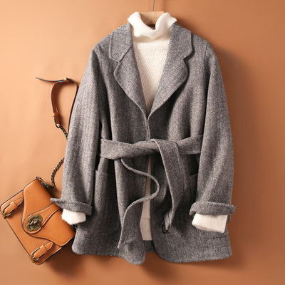 Women's hand-sewn loose double-side woolen coat for fall/winter