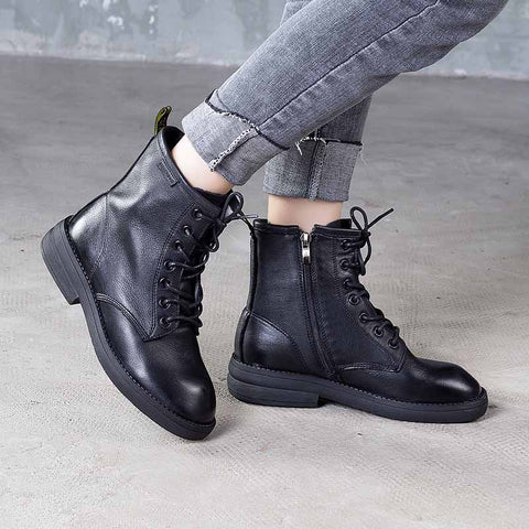 2019 autumn and winter new leather retro round head boots thick leather ankle boots
