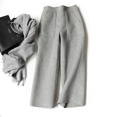 Women's autumn and winter casual warm double-side wide-legged woolen pants loose cashmere pants
