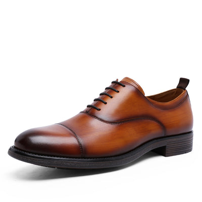 New leather men's  first layer of cowhide shoes gradient upper gentleman lace-up shoes wedding shoes