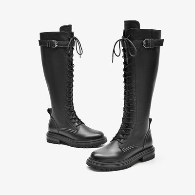 Women's new solid color motorcycle boots British style thick-soled side zipper leather knight boots