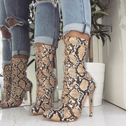Yellow Snakeskin Stiletto Heel Lace-Up Point Toe Boots