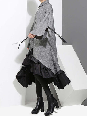 Ruffle Sleeve Turn Down Collar Asymmetric Bowknot Loose Casual Dresses