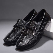Casual leather crocodile trend British peas shoes