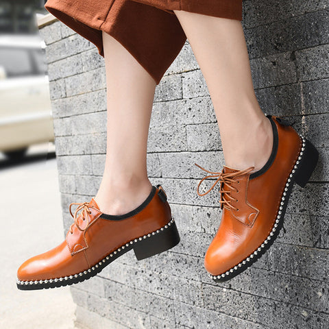 British Solid Color Beads Leather Lace-Up Round Toe Low Heel Loafers