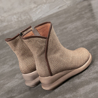 Hollow Hand-Made Side Zipper Asymmetric Leather Flat Heel Ankle Boots