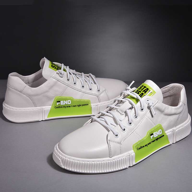 Leather men's casual white shoes