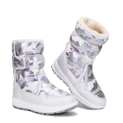 2019 winter new snowflake in the tube parent-child anti-skid children snow boots