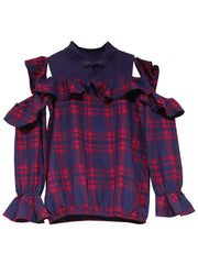 Plaid Patchwork Long Sleeve Ruffle Cold Shoulder Stand Collar Blouses