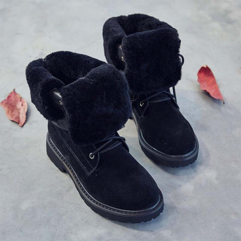 2019 winter new retro leather thick high snow boots female soft bottom cotton boots wild plus velvet warm boots