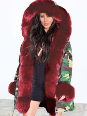2019 new women's autumn and winter coat camouflage plush fur collar warm coat jacket