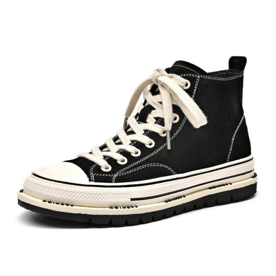 2020 spring new fashion wild leather canvas shoes high-top