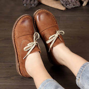 Leather retro art handmade flat lace-up soft bottom loafers