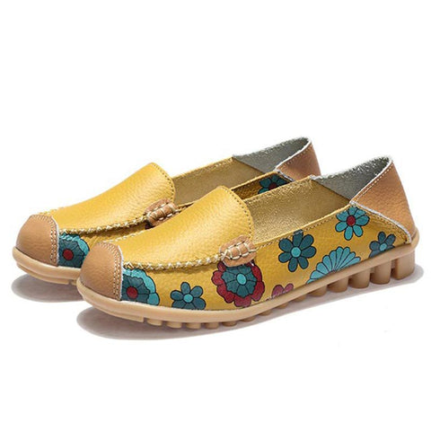 Vintage Ethic Floral Patchwork Round Toe Slip-On Leather Loafers