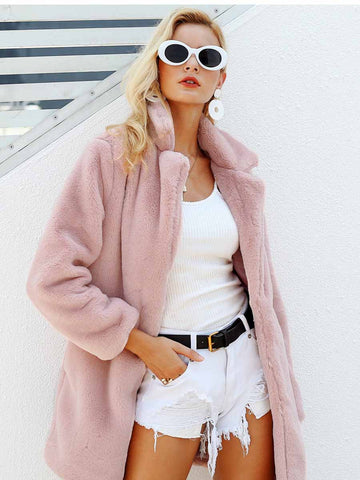 Autumn and winter new women's fur coat fashion suit collar long fur coat