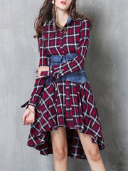 Plaid Turn Down Collar Asymmetric Long Sleeve Cardigan Buttons Double Linen & Cotton Dresses