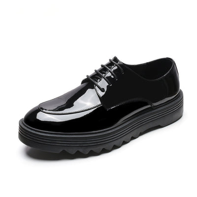 Autumn and winter new Korean version of round head patent leather black thick bottom wild bright thin belt low men's shoes
