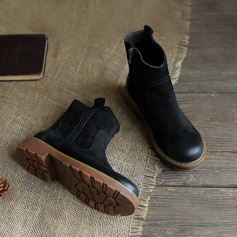 2019 autumn new retro leather ankle boots with Martin boots literary zipper round head Sen women's shoes