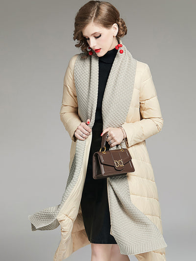 Winter new loose fashion fake two-piece scarf waist long down jacket
