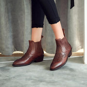 Solid color pointed head with Chelsea bare boots