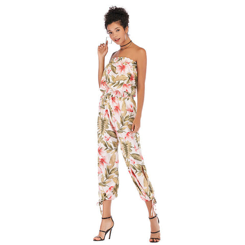 Open back sleeveless printed chiffon jumpsuit