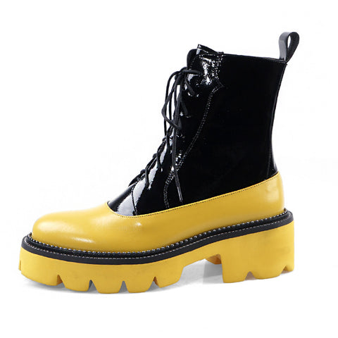 Street punk style thick-soled color-matching leather Martin boots