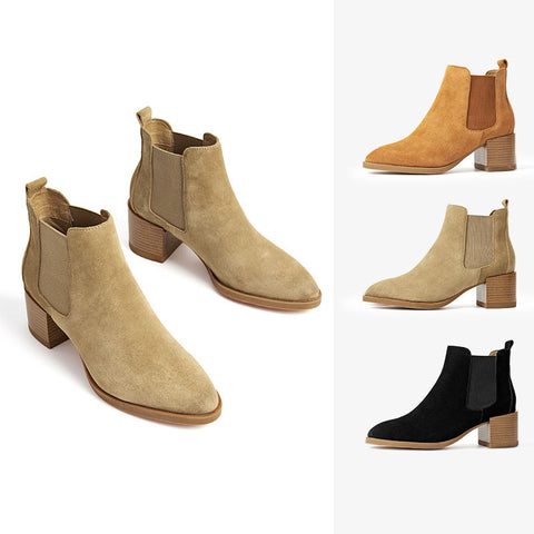 2019 autumn and winter new leather Chelsea boots thick heel leather women's boots British style short boots women's shoes