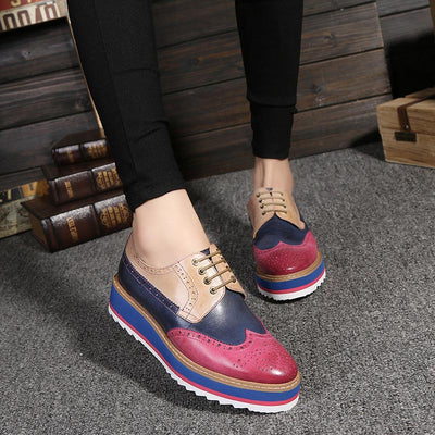 British Style Color Block Lace-Up Leather Patchwork Platform Shoes