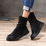 Platform Leather Round Toe Back Zipper Plush Ankle Boots