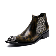 Men's casual help British Bullock carved pointed leather ankle boots