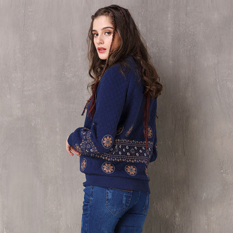 Winter new retro embroidery thick cotton coat