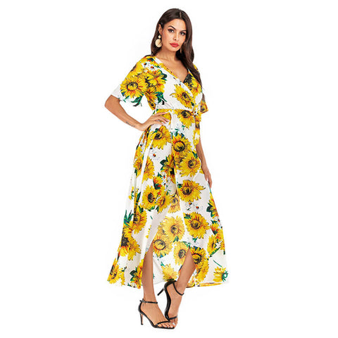 Summer floral side holiday beach dress